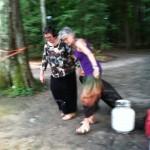 Sylvia & Polly hauling a dye burner
