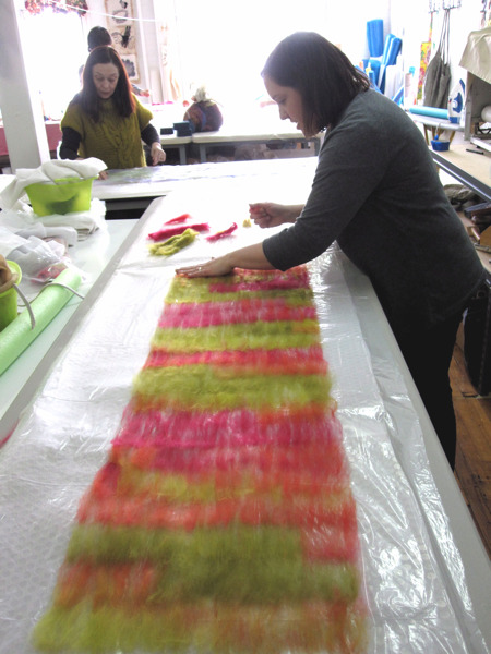 seaweed scarf, laying out